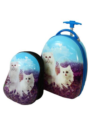 Walizka dziecięca podróżna na dwóch kółkach kauczukowych + plecak gratis - kotek