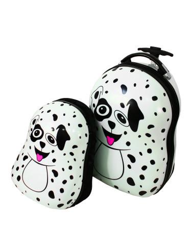 Walizka dziecięca podróżna na dwóch kółkach kauczukowych + plecak gratis - piesek