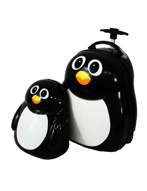 Walizka dziecięca podróżna na dwóch kółkach kauczukowych + plecak gratis - pingwin