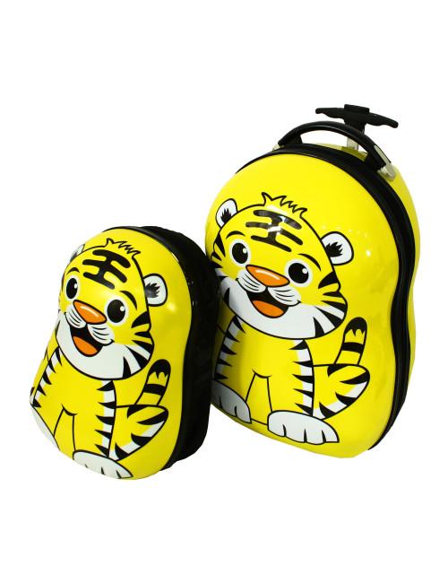 Walizka dziecięca podróżna na dwóch kółkach kauczukowych + plecak gratis - tygrysek