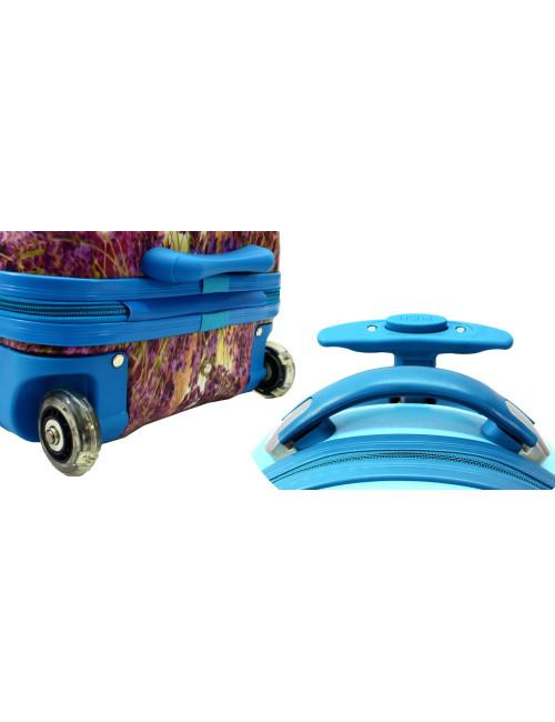 Walizka dziecięca podróżna na dwóch kółkach kauczukowych + plecak gratis - kauczukowe kółka i wysuwany uchwyt