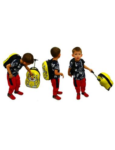 Walizka dziecięca podróżna na dwóch kółkach kauczukowych + plecak gratis - walizka dla dzieci z plecakiem
