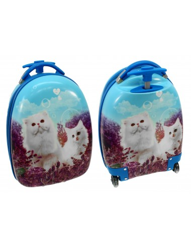 Walizka dziecięca podróżna na dwóch kółkach kauczukowych + plecak gratis - motyw z przodu i z tyłu