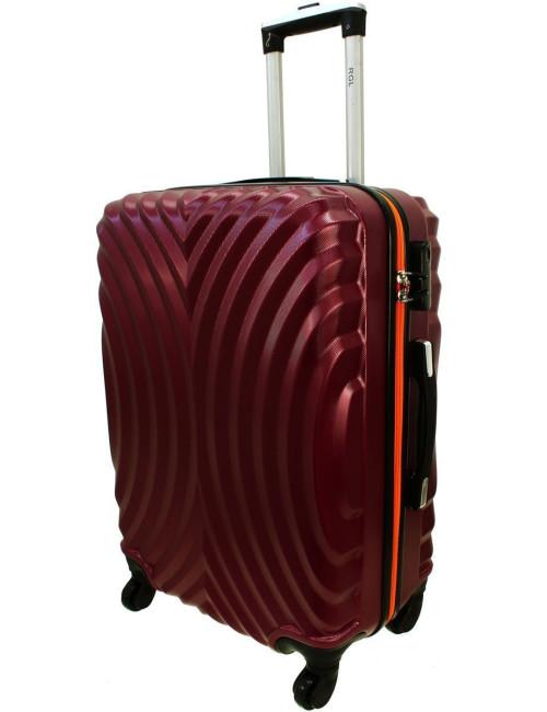 Duża walizka podróżna na kółkach 760 XXL - Bordowo-Pomarańcz