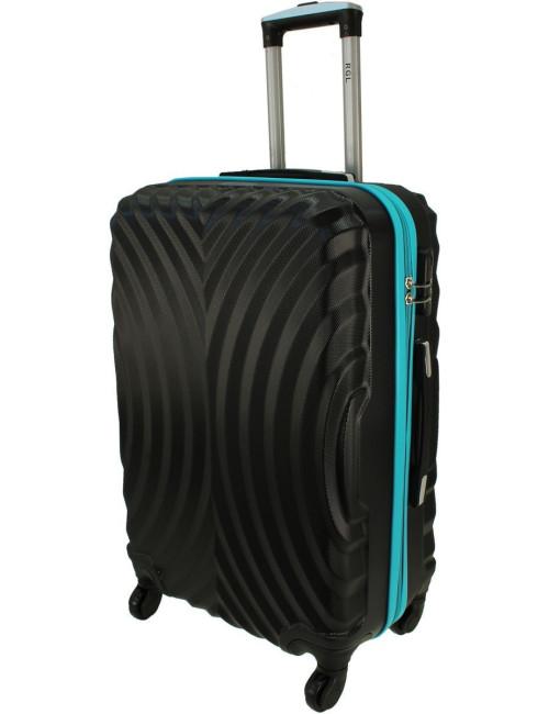 Duża walizka podróżna na kółkach 760 XXL - Czarno-Lazurowy