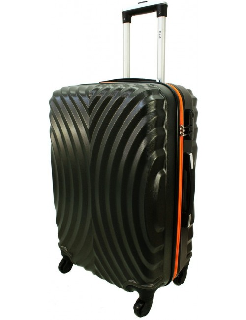 Duża walizka podróżna na kółkach 760 XXL - Grafitowo-Pomarańcz