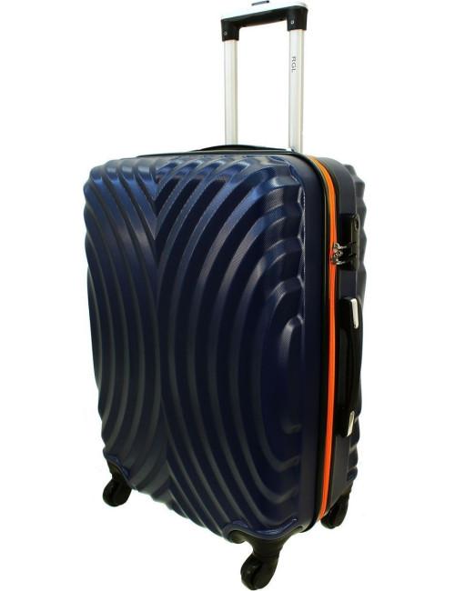 Duża walizka podróżna na kółkach 760 XXL - Granatowo-Pomarańcz