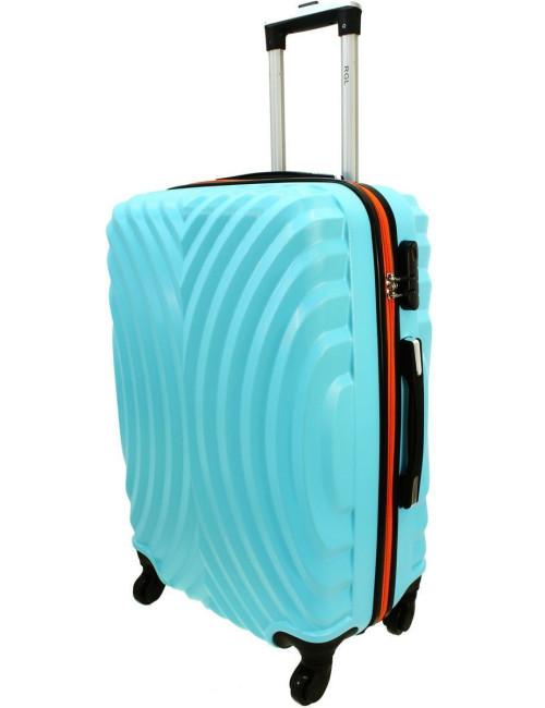 Duża walizka podróżna na kółkach 760 XXL - Lazurowo-Pomarańcz
