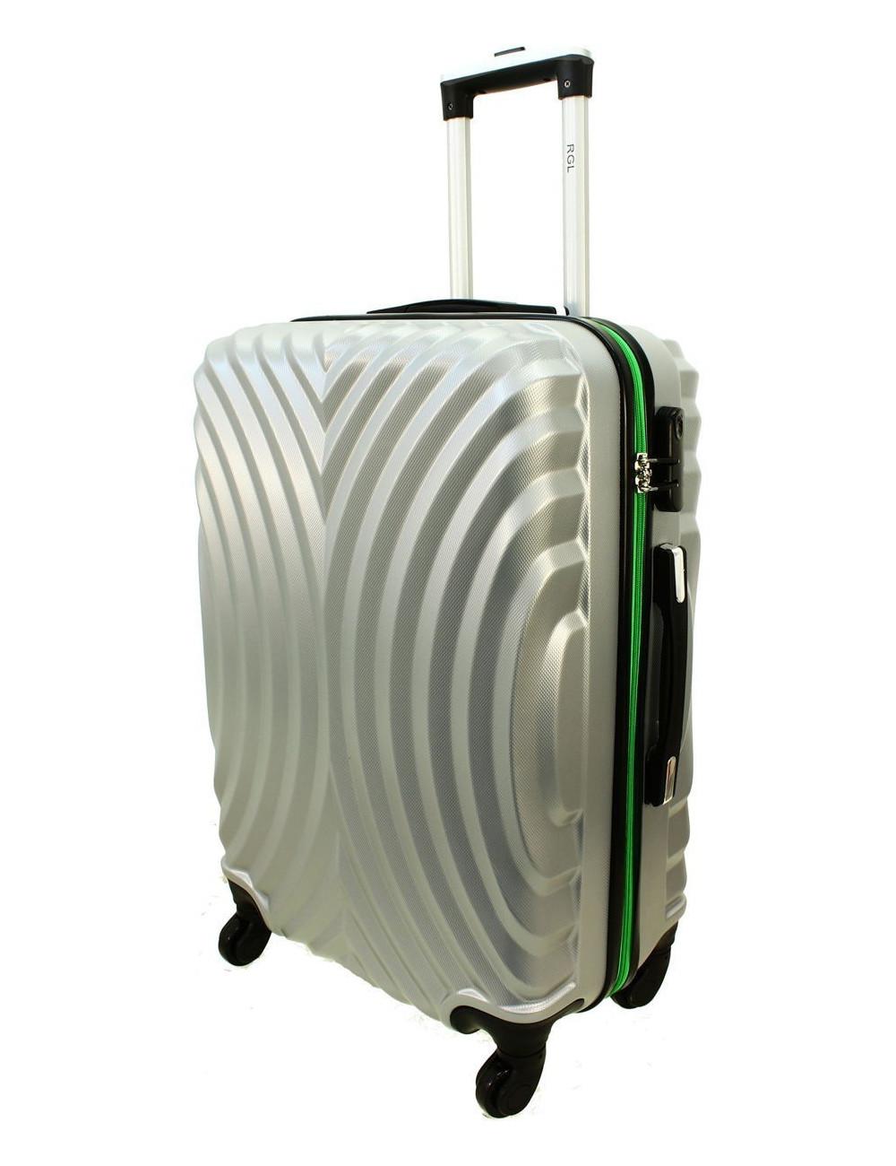 Duża walizka podróżna na kółkach 760 XXL - Srebrno-Zielony