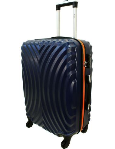 Średnia walizka podróżna na kółkach 760 XL - Granatowo-Pomarańcz