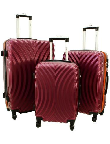 Zestaw walizek podróżnych na kółkach 3w1 760 XXL XL L - Bordowo-Pomarańcz