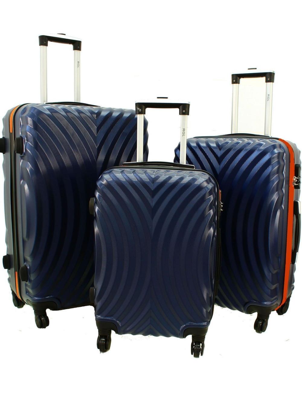 7f8caa4ec719d Zestaw walizek podróżnych na kółkach 3w1 760 XXL XL L - Granatowo-Pomarańcz