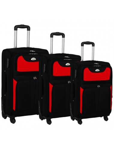 Zestaw walizek podróżnych 3w1 RGL  S-010  XXL XL L - CZARNO-CZERWONY