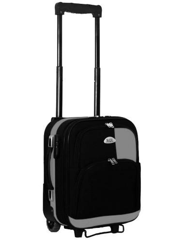 Mała walizka podróżna kabinowa na kółkach 652 M - grafitowo-czarna