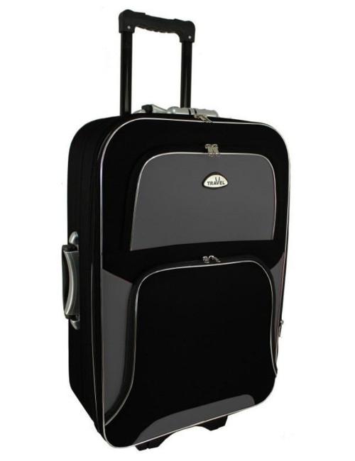 Średnia walizka podróżna na kółkach  301 XL - grafitowo-czarna