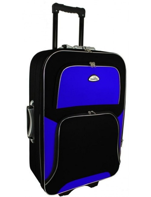 Średnia walizka podróżna na kółkach  301 XL- niebiesko-czarna