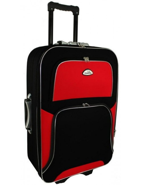 Średnia walizka podróżna na kółkach  301 XL - czerwono-czarna