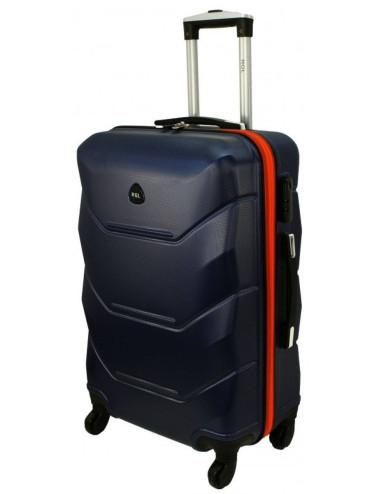 Mała walizka podróżna kabinowa na kółkach 720 M - granatowo-pomarańczowa