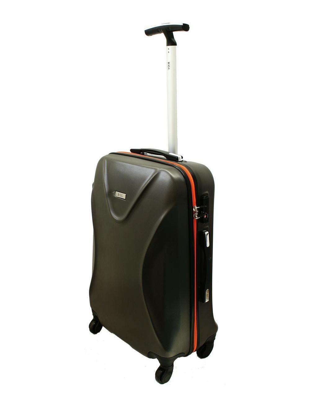Duża walizka podróżna na kółkach 750 XXL Zamek TSA - grafitowo-pomarańczowa