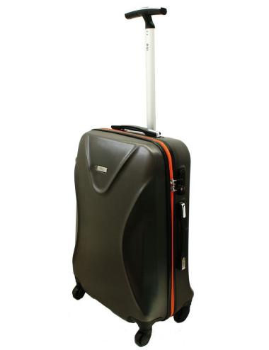 Mała walizka podróżna 750 L zamek TSA - grafitowo-pomarańczowa