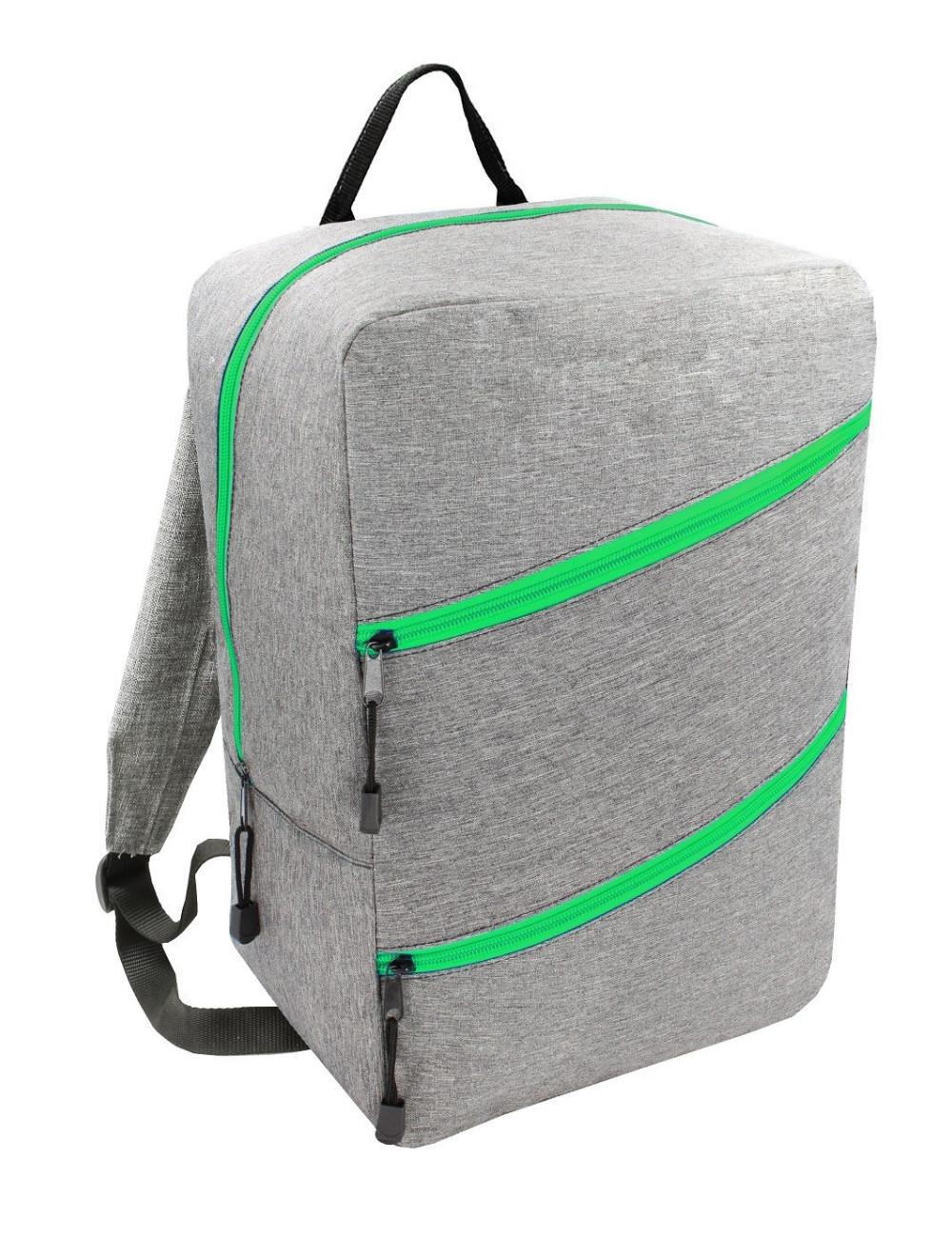 Plecak Torba RYANAIR 40x20x25 bagaż podręczny 43 - szary z zielonym zamkiem