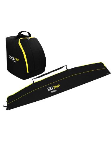 Pokrowiec na narty i buty - czarno-żółty