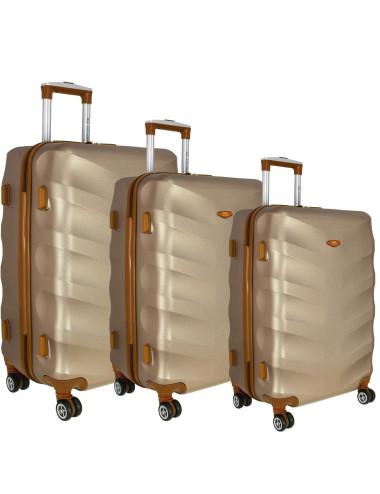 3w1 Komplet walizek podróżnych 6881 RGL Exclusive - szampan