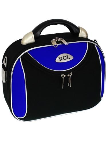 Średni kuferek podróżny kosmetyczka 773 XL - niebiesko-czarny
