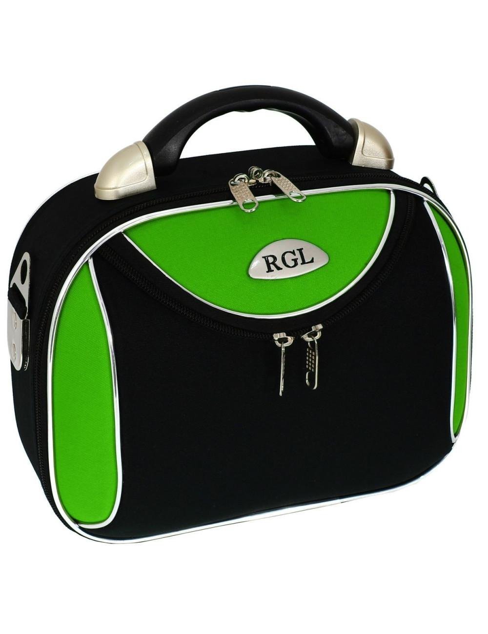 Średni kuferek podróżny kosmetyczka 773 XL - zielono-czarny