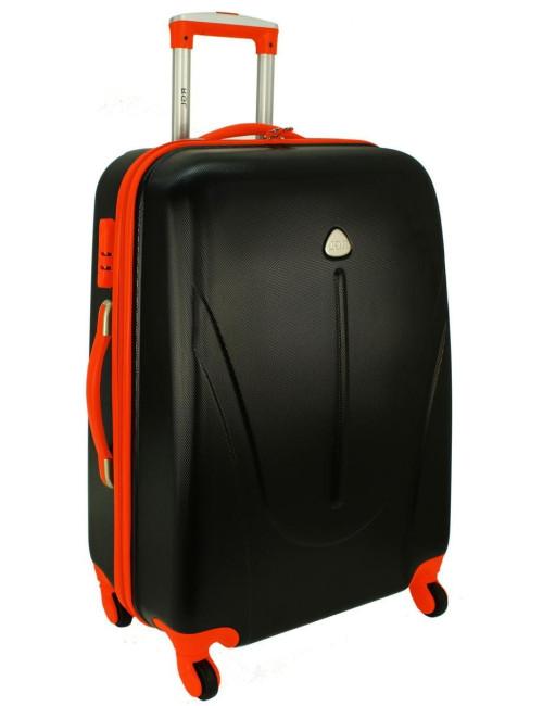 Mała walizka podróżna na kółkach 883 RGL 55x40x20 - grafitowo-pomarańczowy