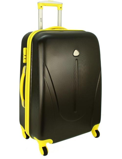 Mała walizka podróżna na kółkach 883 RGL 55x40x20 - grafitowo-żółta