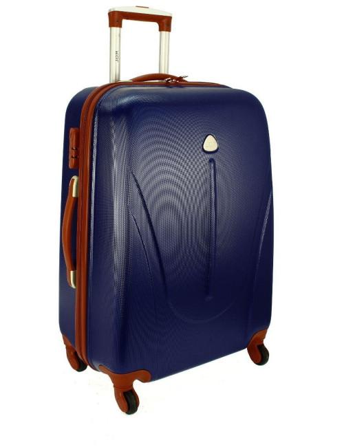 Mała walizka podróżna na kółkach 883 RGL 55x40x20 - granatowo-brązowa