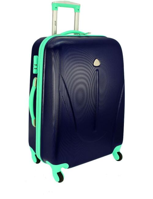 Duża walizka podróżna na kółkach 883 RGL - granatowo-miętowa