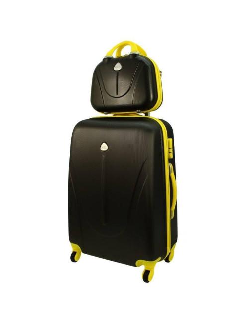 Walizka L + kuferek L 883 - grafitowo-żółty