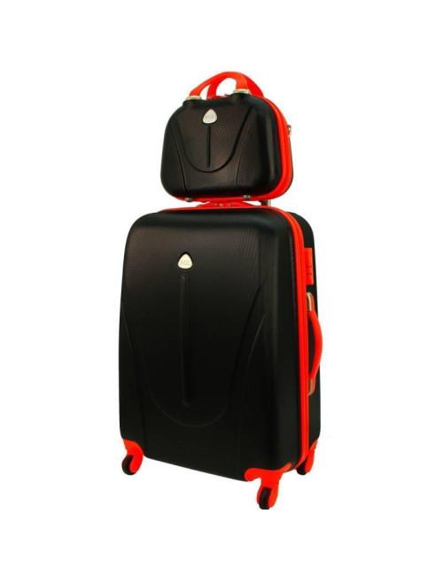 Walizka L + kuferek L 883 - czarno-pomarańczowy