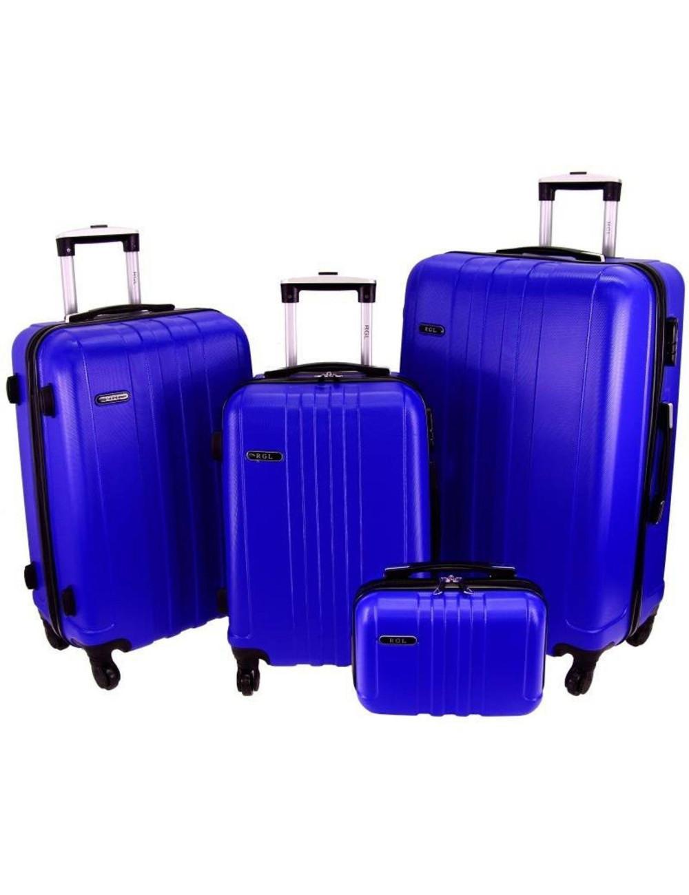 Zestaw walizek podróżnych 3w1 + Kuferek 740 RGL - niebieski
