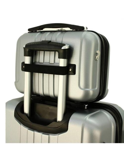 Zestaw walizek podróżnych 3w1 + Kuferek 740 RGL - kuferek zamocowany uchwytu walizki