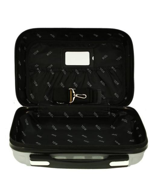 Zestaw walizek podróżnych 3w1 + Kuferek 740 RGL - wnętrze kuferka