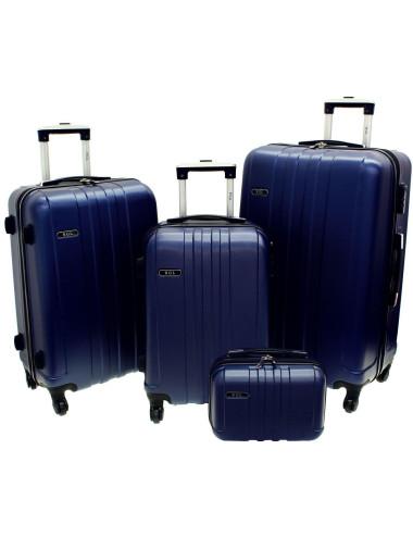 Zestaw walizek podróżnych 3w1 + Kuferek 740 RGL - granatowy