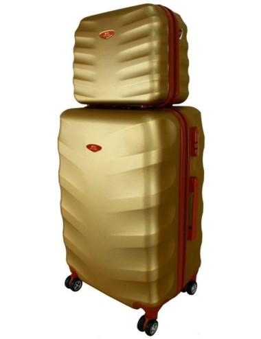 Mała  Walizka podróżna + Mały Kuferek 6881 RGL - szampan