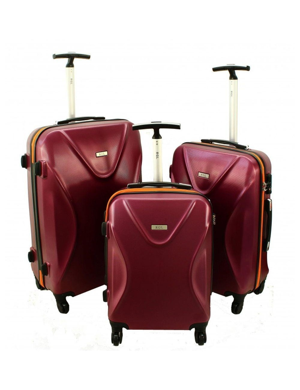 Zestaw walizek podróżnych 3w1 750 XXL XL L - bordowo-pomarańczowy