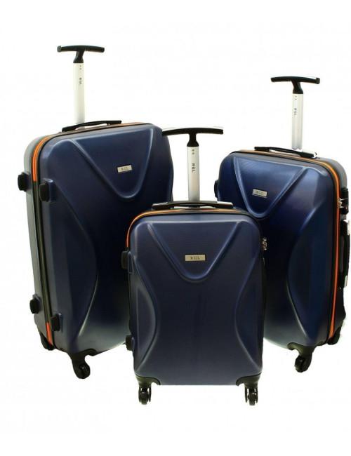 Zestaw walizek podróżnych 3w1 750 XXL XL L - granatowo-pomarańczowy