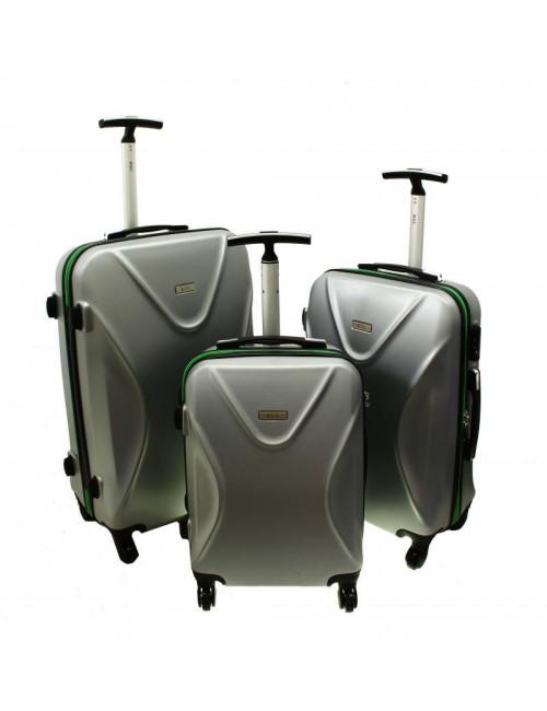 Zestaw walizek podróżnych 3w1 750 XXL XL L - zielono-srebrny