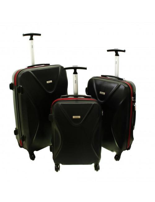 Zestaw walizek podróżnych 3w1 750 XXL XL L - czerwono-czarny