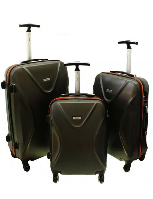 Zestaw walizek podróżnych 3w1 750 XXL XL L - pomarańczowo-grafitowy
