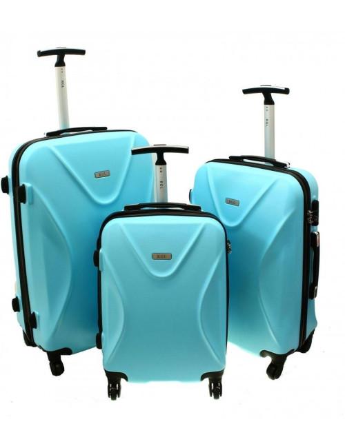 Zestaw walizek podróżnych 3w1 750 XXL XL L - lazurowy