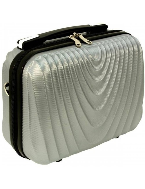 Średni kuferek kosmetyczka podróżna 663 XL RGL - srebrny