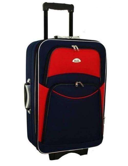 Mała walizka podróżna na kółkach 773 M - granatowo-czerwony